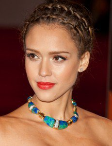 Jessica Alba with a Crown Braid